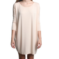 Cream Piko Tunic 3/4 Sleeve Dress