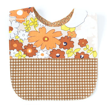 Vintage Fabric Patchwork Bib |  Brown/Orange Floral + Gingham