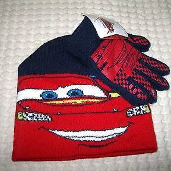 Disney Cars2 Lightning McQueen Blue/Red 3D Beanie Hat&Finger Gloves 2pc Set-New