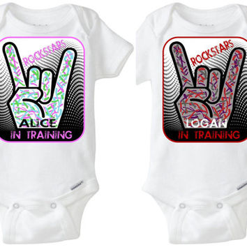 "Boy Girl Fraternal Twins Gerber Baby Onesuits - ""Rockstars In Training"" modern rocker splatter paint graphics! Preemie Size Available!"