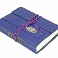 Purple Leather Wrap Journal with Bird Charm and Bookmark
