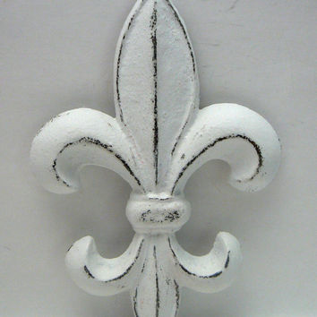 Fleur de lis Metal Cast Iron Painted Distressed Bright White Classic Shabby Chic Wall Decor French Decor, Paris