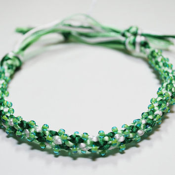 Luck of the Irish Green Beaded Kumihimo Bracelet by epicstitching