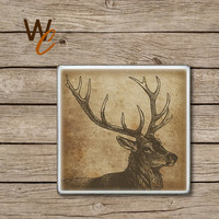 Drink Coaster, Buck, Deer Handmade Design, Ceramic Tiles, Grunge Style Wildlife Home Decor, The Great Outdoors Bar Coaster, Made To Order