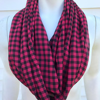 Women's-Handmade-Polyester-Buffalo-Plaid-Red-Infinity-Scarf-Accessories-Light-Fall-Gifts for Her