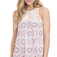 Floral Flow Crochet Paneled Tank Top