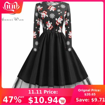 2019 Autumn Winter Long Sleeve Christmas Print Dress Elegant Vintage Pin up 50s 60s Retro Plus Size S~5XL Party Vestidos Robe