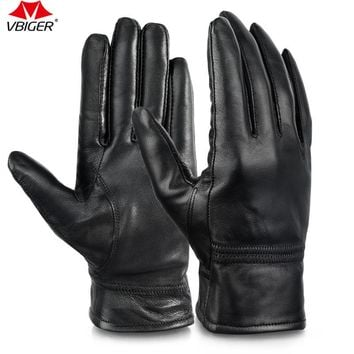Vbiger  Women Full-finger Gloves Genuine Leather Warm Winter Wear for Bicycling Driving Motorcycling