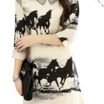 Ladylike Peter Pan Collar Beading Full Horses Print Chiffon Dress For Women
