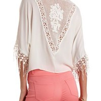 Crochet Trim Swing Top by Charlotte Russe - Ivory