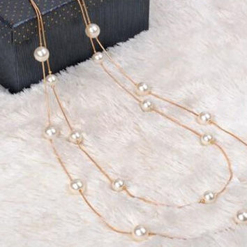 Simulated Pearl Long Necklaces & Pendants  Multilayer