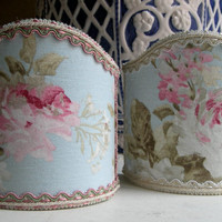 Pair of Wall Sconce Clip-On Shield Shades Floral Shabby Chic Fabric Chandelier Half Lampshade - Handmade in Italy