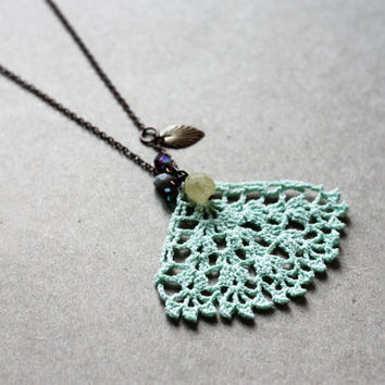 Pendant necklace mint green - long necklace pastel spring lace jewelry