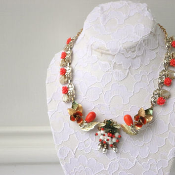 vintage repurposed upcycled OOAK necklace coral orange green pearl enamel flower floral Sarah Coventry assemblage clip on gold tone rose