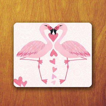 Pink Swan Mouse Pad Beautiful Animal Pink Heart MousePad Office Pad Work Accessory Personalized Custom Gift