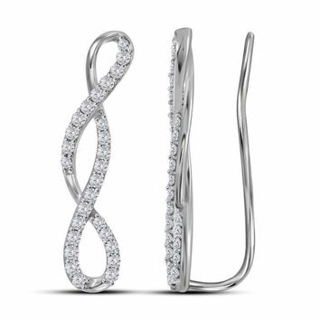 10kt White Gold Women's Round Diamond Infinity Climber Earrings 1-2 Cttw - FREE Shipping (USA/CAN)