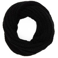 Black Chunky Knit Cowl Scarf by Charlotte Russe