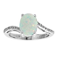 Oval Lab-Created Opal and Diamond Accent Ring in Sterling Silver