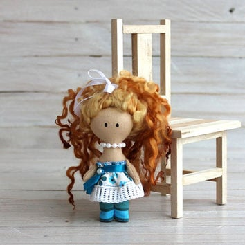 Rag doll, Mini Doll, rag doll with pearl beads, doll in turquoise dress, doll with redhead hair, gift for Christmas, gift for girls