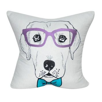 Pooch Pillows Lab with Lavender Glasses ~ White