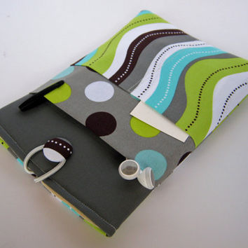 "Macbook Air 13"" Case, Macbook Pro 13"" Sleeve, Laptop Cover, Laptop Sleeve, Green and Blue Polka Dots"
