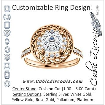 Cubic Zirconia Engagement Ring- The Ariané Contessa (Customizable Cathedral-style Cushion Cut featuring Cluster Accented Filigree Setting & Pavé Band)