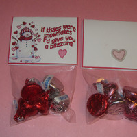 VALENTINE CANDY KISSES,Snowman,treat,candy topper, Valentine favor,bag topper