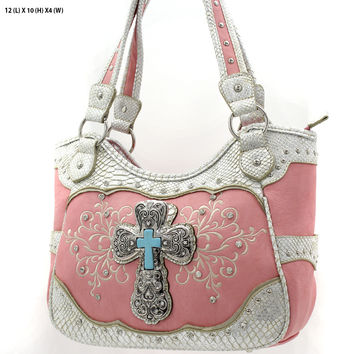 * RHINESTONE CROSS HANDBAG In Peach