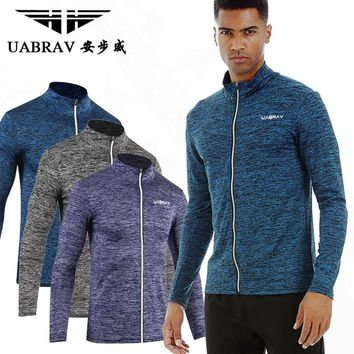 UABRAV  Men Running Run Jacket Sweaters Fitness Exercise Outdoor Fitting Sports Soccer Football Training Gym Trainning Jackets