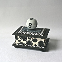 Black and White Handmade Gift Box with Eight Ball Knob - a Great Gift for Him
