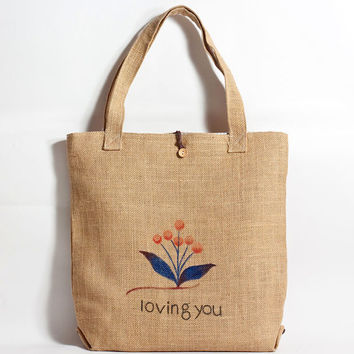 Straw Bag - Hand Drawn Blooming Flower Pattern Straw Tote Bag - Made to Order