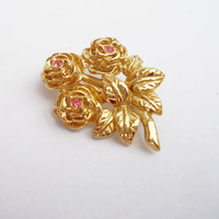 Vintage Rose Design Gold Tone Brooch with Pink Rhinestone, UK Seller