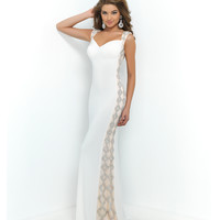 White Sweetheart Jeweled Ivory Straps Low Back Gown