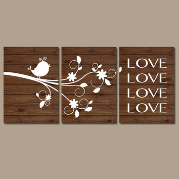 Bird Wall Art Girl Nursery Canvas Chil LOVE Quote Flower Branch Birdie Wood Grain Custom Colors Set of 3 Baby Room Shower Gift Artwork