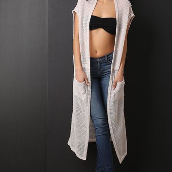 Loose Knit Sequins Accent Longline Cardigan