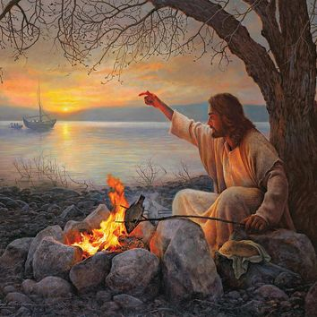 Christian paintings of jesus Cast Your Nets On The Right Side Portrait art High quality hand painted