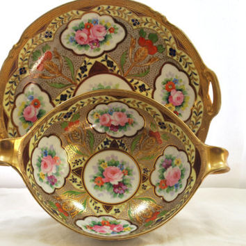 Handle Plate and Bowl Nippon Noritake Moriage Gold and Pink Roses  1920