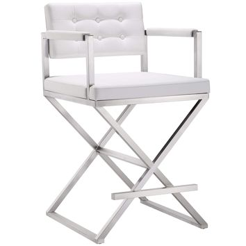 Director Counter Stool, White