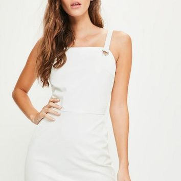 Missguided - White Faux Leather Eyelet Trim Bodycon Dress