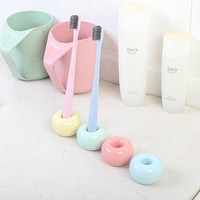 1 PCS Creative Ring Toothbrush Holder Multifunctional Candy Color Ceramic Pencil Tooth Seat Home Bathroom Practical Product