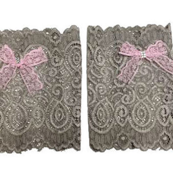 Taupe Floral Scalloped Stretch Lace Pink Lace Bow Peek a Boo Boot Cuffs Lacey Boot Cuffs Boot Toppers