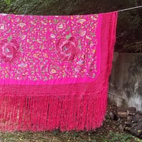 Vintage Victorian Magenta Embroidered Piano Shawl