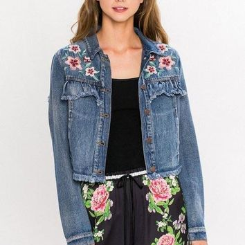 Flying Tomato Denim Jacket with Floral Embroidery