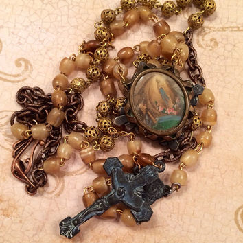 Antique Lourdes Brooch/Black Crucifix Assemblage Necklace