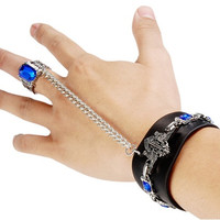 Punk Style Unique Design PU & Alloy Wristband with Ring (Black)