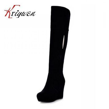 ONETOW factory discount 2015 sexy winter wedges flock knee high boots for women snow zip shoe  number 1