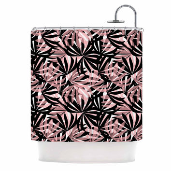 "Amy Reber ""Black And Pink Palms"" Leaves Pattern Shower Curtain"