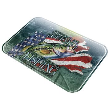 4th of July Always Be Yourself American Fishing All Over Glass Cutting Board