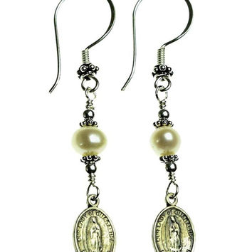 Sterling Silver Pearls, Our Lady of Guadalupe Medal Earrings