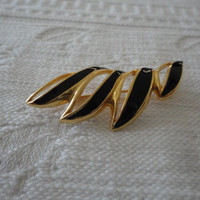 Monet Black Enamel Gold Tone Vintage Brooch Pin